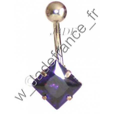 Piercing nombril superbe brillants violet ZC