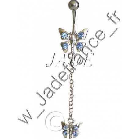 Piercing nombril libellule bleu Superbe brillants ZC