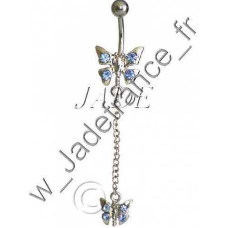 Piercing nombril libellule bleu Superbe brillants ZC