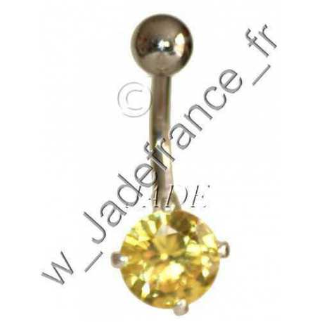 Piercing nombril superbe brillants rose ZC