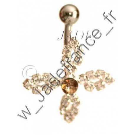 Piercing nombril superbe brillants mauve pale ZC