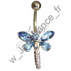 Piercing nombril libellule violet Superbe brillants ZC