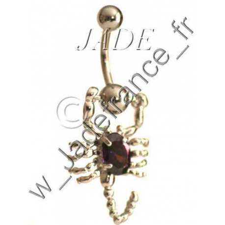 Piercing nombril Scorpion articulé blanc