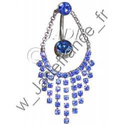 Piercing nombril papillon bleu Superbe brillants ZC