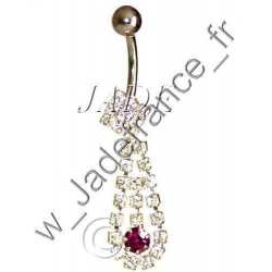 Piercing nombril superbe brillants Cœur pendant ZC