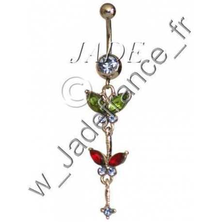 Piercing nombril penditif bleu Superbe brillants ZC