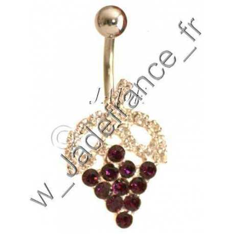Piercing nombril grappe de raisin rouge brillants violet
