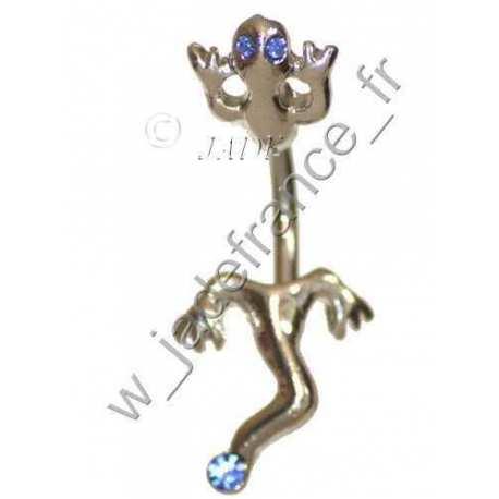 Piercing nombril salamandre articulé doré avec brillants