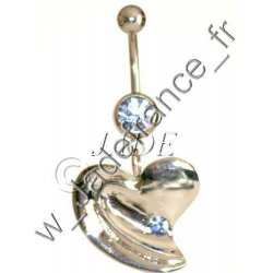Piercing nombril brillants et perle