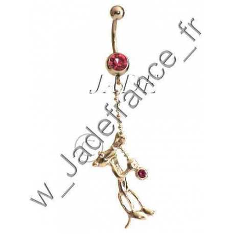 Piercing nombril Panthère rose pendant - pink panther