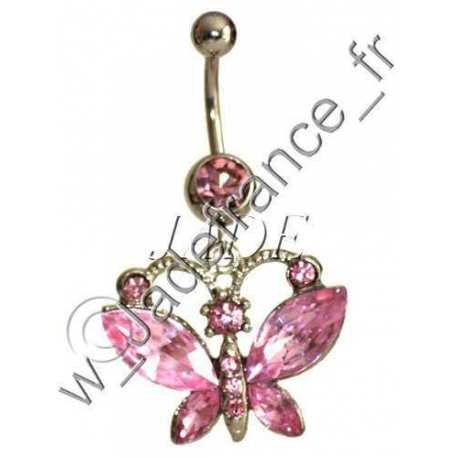 Piercing nombril papillon rose Superbe brillants ZC