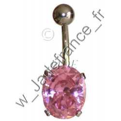 Piercing nombril superbe brillants ovale bleu ZC