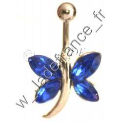 Piercing nombril papillon jaune Superbe brillants ZC