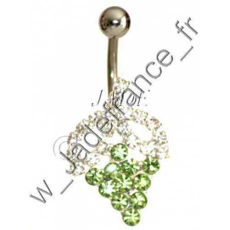 Piercing nombril grappe de raisin vert brillants vert
