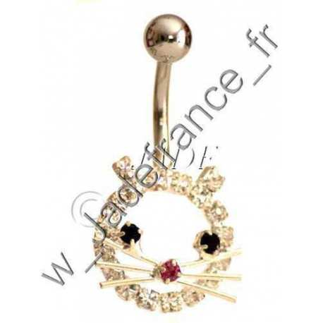 Piercing nombril libellule rose Superbe brillants ZC
