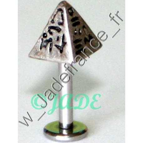 Piercing lèvre spike hyérogliphes 7mm tige 1.5mm