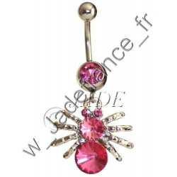 Piercing nombril araigné rose Superbe brillants ZC