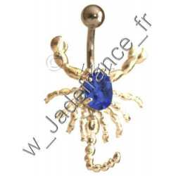 Piercing nombril Scorpion articulé Bleu