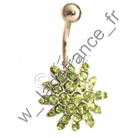 Piercing nombril superbe brillants vert pale ZC