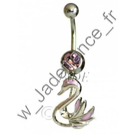 Piercing nombril cygne Rose