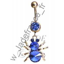 Piercing nombril araigné bleu Superbe brillants ZC