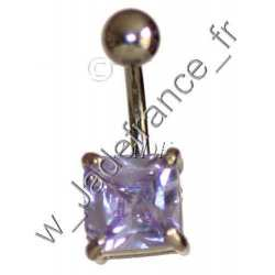 Piercing nombril superbe brillants mauve ZC