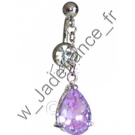 Piercing nombril superbe brillants Cœur mauve pendant ZC
