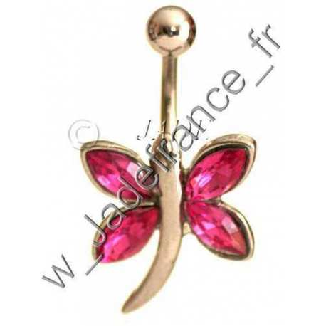 Piercing nombril papillon violet Superbe brillants ZC