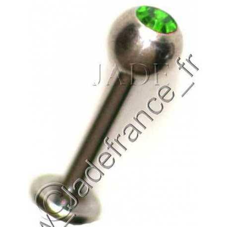 Piercing lèvre bille 5mm tige 1.6mm brillant Vert emeraude