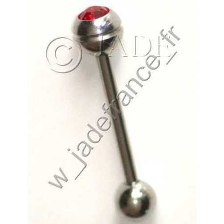 Piercing langue bille 6mm barre 1.5mm brillant rouge
