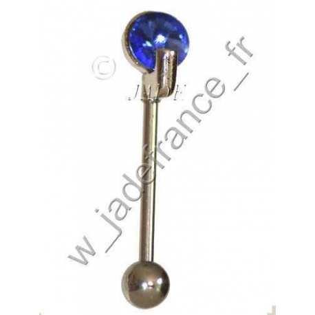 Piercing langue bille 8mm barre 1.5mm brillant Bleu
