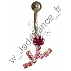 Piercing nombril superbe fleur brillants fushia
