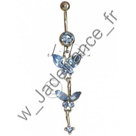 Piercing nombril papillon bleu pendant Superbe brillants