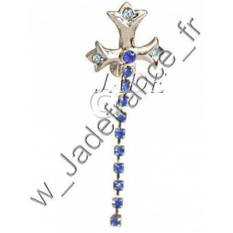 Piercing nombril croix avec brillants bleu