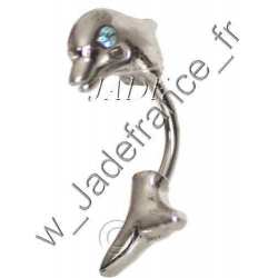 Piercing nombril Dauphin avec brillants bleu