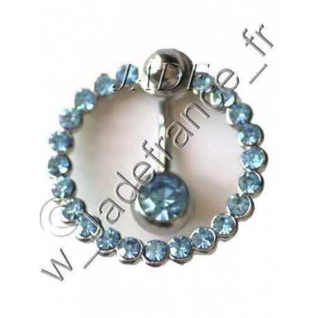 Piercing nombril contour Superbe brillants bleu ciel