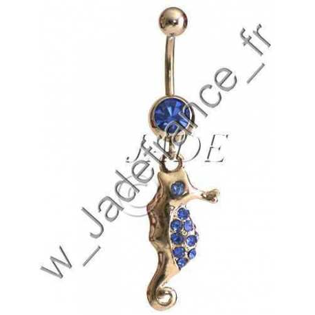Piercing nombril Superbe hippocampe brillants bleu
