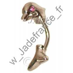 Piercing nombril Dauphin avec brillants rose