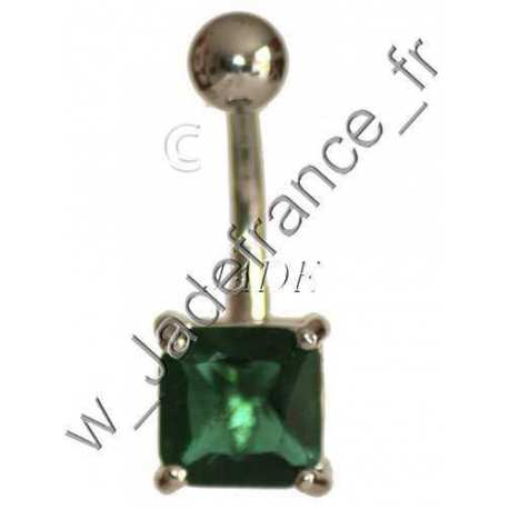 Piercing nombril superbe brillants vert ZC