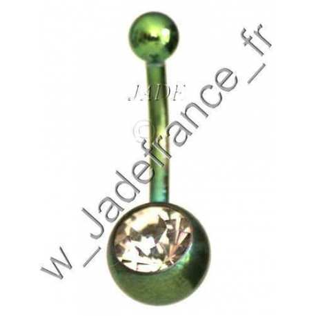 Piercing nombril Superbe brillants couleur titanium