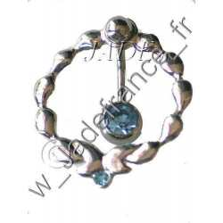 Piercing tour de nombril superbe brillant bleu
