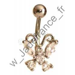 Piercing nombril papillon blanc Superbe brillants ZC