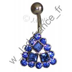 Piercing nombril superbe brillants bleu