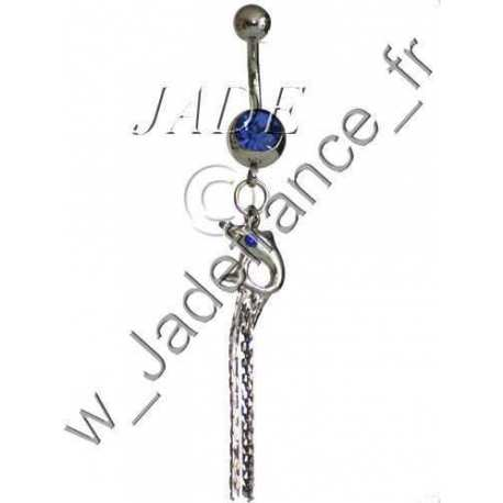 Piercing nombril Dauphin pendant avec brillants