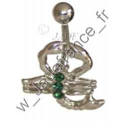 Piercing nombril Scorpion Brillants vert
