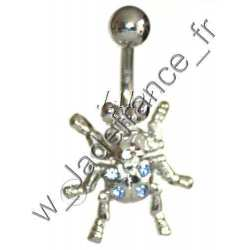 Piercing nombril scarabé Superbe brillants bleu