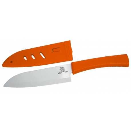 Couteau Chef Céramique lame 14cm blanche brossé poigné Orange