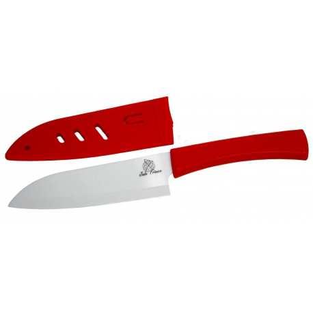 Couteau Chef Céramique lame 14cm blanche brossé poigné Rouge