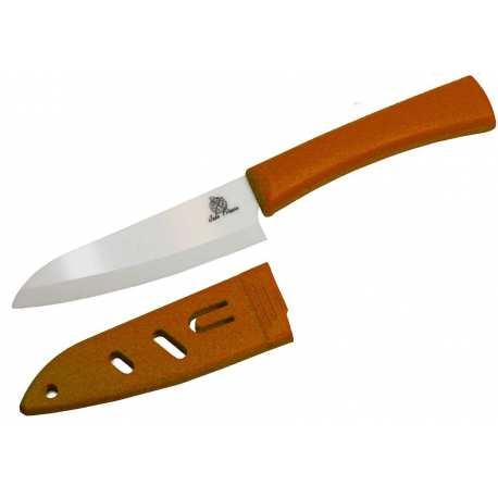 Couteau office Céramique lame 10cm blanche brossé poigné Orange