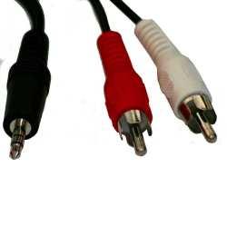 Câble Audio Stéréo Mâle 3.5mm Aux 2* RCA Mâle 1.2 mètres